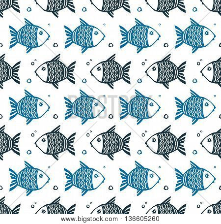 Blue grunge style fishes floating different directions, vector seamless pattern on white background