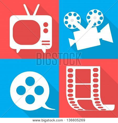 Movie Icons In Four Backgrounds Vector Illustration
