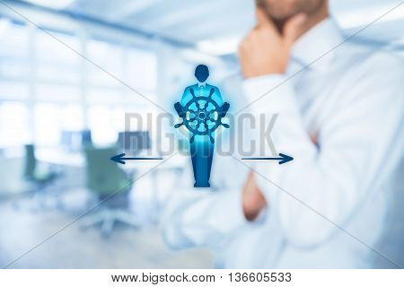 Decision making (managerial concept) - select the best business way (opportunity strategy) symbolized by captain with helm.