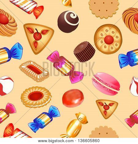 illustration seamless background with candies and biscuits