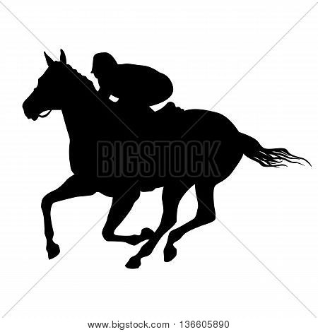 Horse rider black silhouette vector illustration isolated