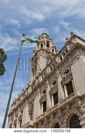 PORTO PORTUGAL - MAY 26 2016: Municipality building (City Hall early 20th c.) at Aliados Avenue in the center of Porto Portugal (UNESCO site). Architects Antonio Correia da Silva and Carlos Ramos