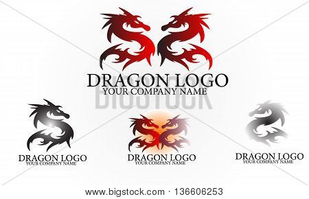 Illustration representing a furious dragon logo design