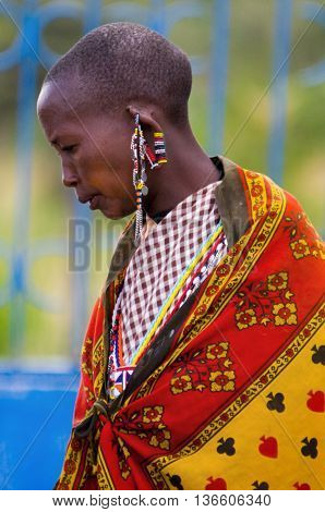 MAASAI MARA KENYA-DECEMBER 27: Maasai in traditional clothes 27 December 2012 at Maasai Mara Kenya. The Maasai are the most famous tribe in Africa.