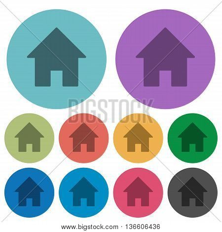 Color home flat icon set on round background.