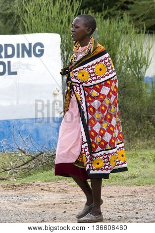 Maasai In Traditional Clothes