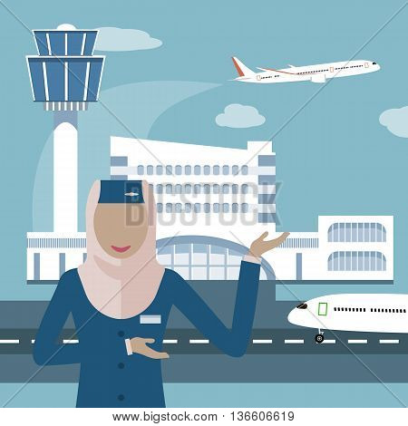 Female flight attendant, a Muslim woman in hijab. Muslim airline icon. The stewardess on the airport and plane background. Arab Air hostess. Vector illustration flat design
