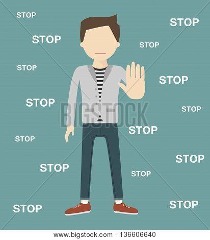 The man gestures a stop sign. Vector illustration flat design