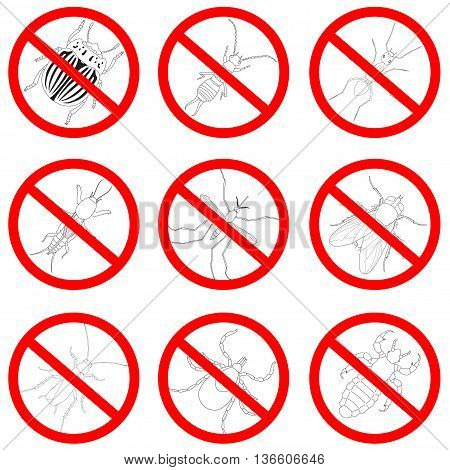 Pest and insect control, icons set. Tick and cricket, bug and ant, fly and cockroach, colorado beetle and mosquito, vector