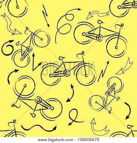 Seamless bicycles pattern. Stylish sporty print. Vector illustration