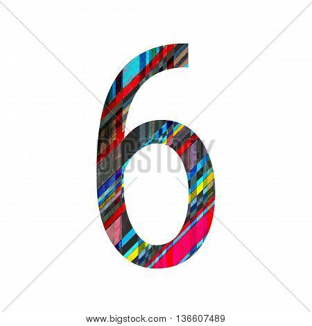 Number 6 (six) with vintage colorful wood texture background.