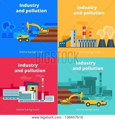 Set of vector industry and pollution backgrounds. Environmental problems concept banner