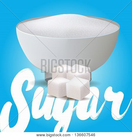 Vector vase full of textured sugar sand and cubes isolated on blue background