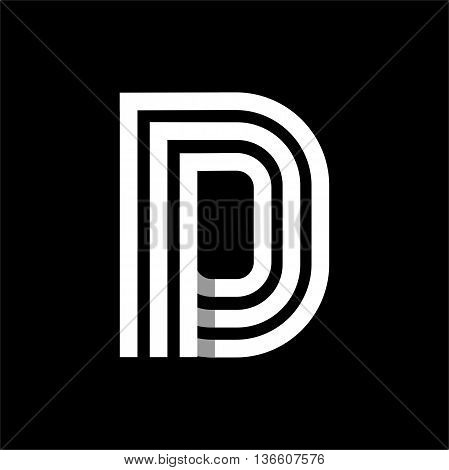 Capital letter D. Made of of three white stripes Overlapping with shadows. Logo, monogram, emblem trendy design.