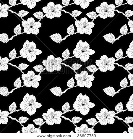 seamless pattern with hibiscus flowers. floral background. Sketch roses and branches. black and white
