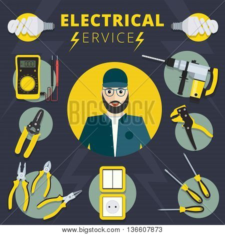 Electrical services vector concept design. Electrician banner illustration with tools and instruments
