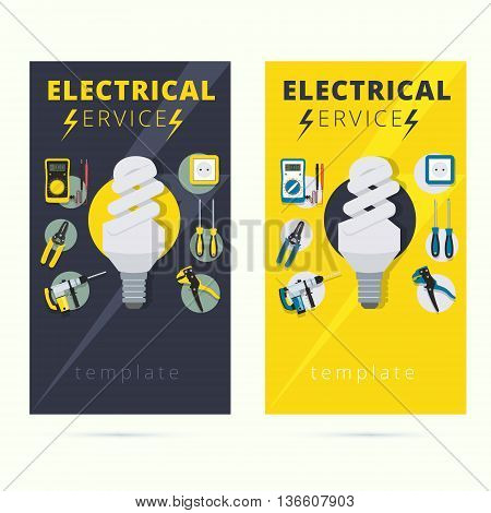 Set of electrical services vector business card concept design. Electrician banner illustration with tools and instruments