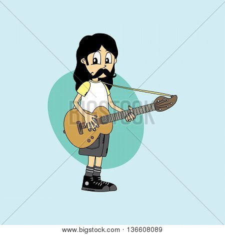 Male Cartoon Character Band Guitar Theme