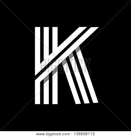 Capital letter K. Made of of three white stripes Overlapping with shadows. Logo, monogram, emblem trendy design.