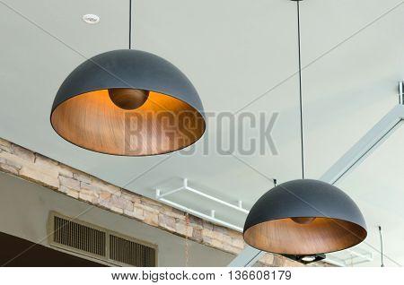 Black pendant lamps in modern interior architecture