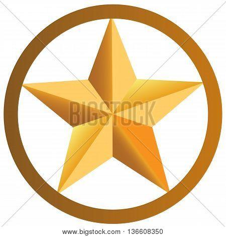 Star in circle icon golden colour success golden colour