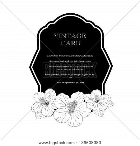 black frame with hibiscus flowers. Vector illustration. Elegant wedding invitation design, Greeting Card, banner