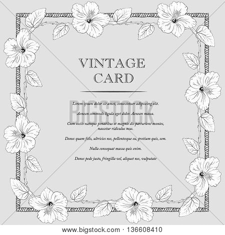 square frame with hibiscus flowers. Vector illustration. Wedding invitation. old sharpen shabby background. Sketch roses and branches. vintage card. gray