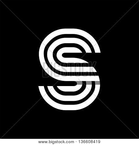 Capital letter S. Made of of three white stripes Overlapping with shadows. Logo, monogram, emblem trendy design.