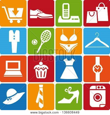 Set of 16 shopping icons. Vector illustration