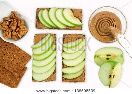 sandwiches with peanut butter and an apple. Apple slices and peanut butter.