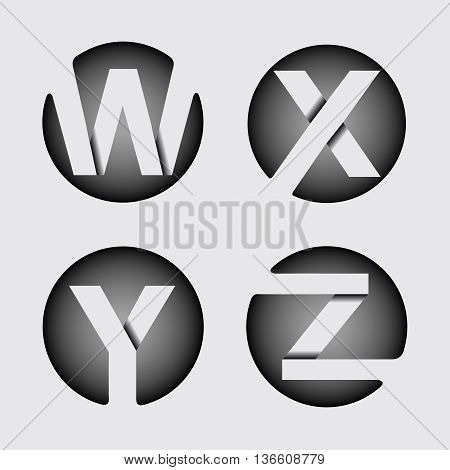 Capital letter W, X, Y, Z. Made of wide white stripes Overlapping with shadows. Logo, monogram, emblem trendy design.