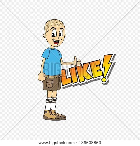 Male Cartoon Character Like Text Thumb Up Theme