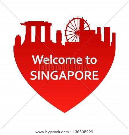 Vector illustration of Singapore skyline in heart shape. Welcome to Singapore