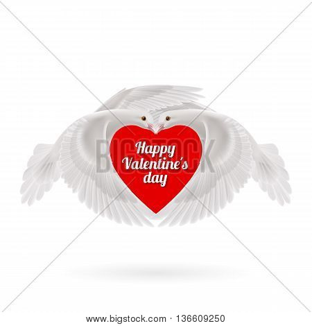 Two white doves makes the shape of the wings of the heart on white