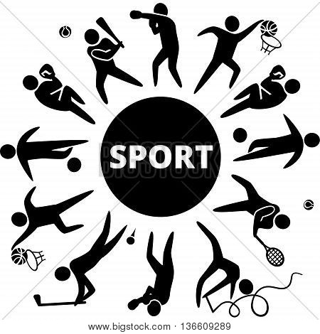 World of sports. Vector illustration of sports icons: basketball; soccer; tennis; boxing; wrestling; golf; baseball; gymnastics;