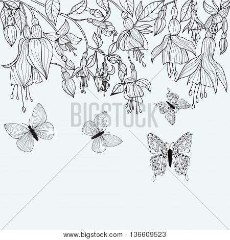 Attractive coloring page design in line. Hand drawn texture with Fuchsia flowers and butterflies. hand drawn Monochrome vector illustration