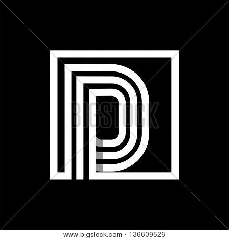 D capital letter made of of three white stripes enclosed in a square. . Overlapping with shadows monogram, logo, emblem. Trendy design.