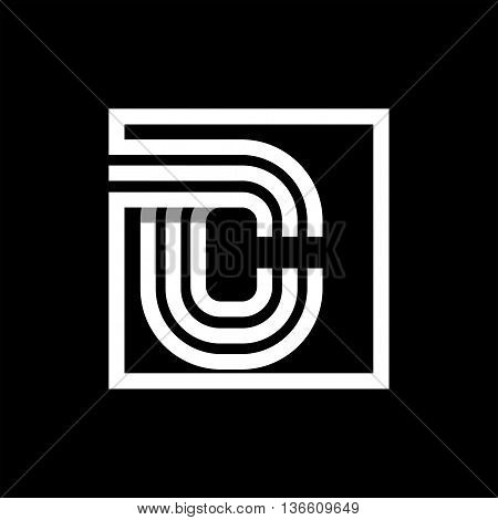 C capital letter made of of three white stripes enclosed in a square. . Overlapping with shadows monogram, logo, emblem. Trendy design.