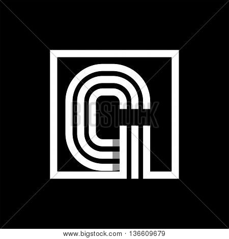 G capital letter made of of three white stripes enclosed in a square. . Overlapping with shadows monogram, logo, emblem. Trendy design.