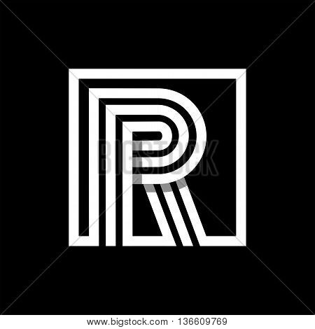 R capital letter made of of three white stripes enclosed in a square. . Overlapping with shadows monogram, logo, emblem. Trendy design.