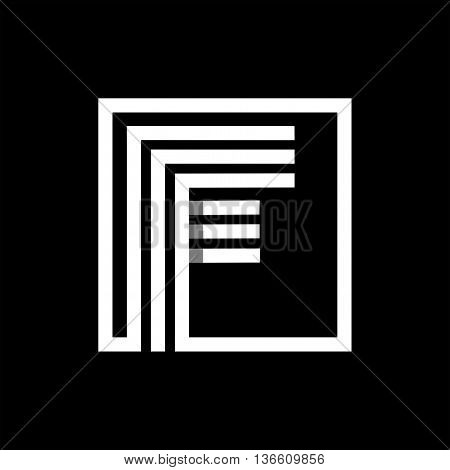 F capital letter made of of three white stripes enclosed in a square. . Overlapping with shadows monogram, logo, emblem. Trendy design.