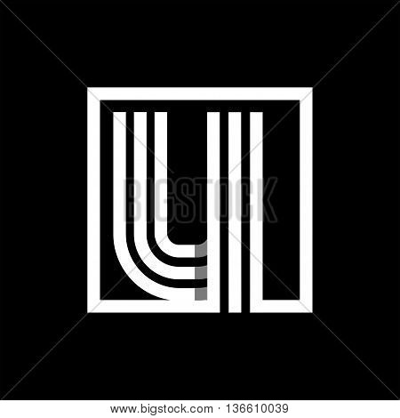 U capital letter made of of three white stripes enclosed in a square. . Overlapping with shadows monogram, logo, emblem. Trendy design.