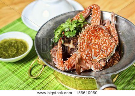 Vietnamese hot pot of sea crab in restaurant