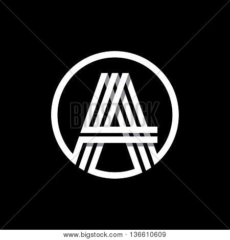 A capital letter made of of three white stripes enclosed in a circle . Overlapping with shadows monogram, logo, emblem. Trendy design.