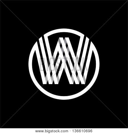 W capital letter made of of three white stripes enclosed in a circle . Overlapping with shadows monogram, logo, emblem. Trendy design.