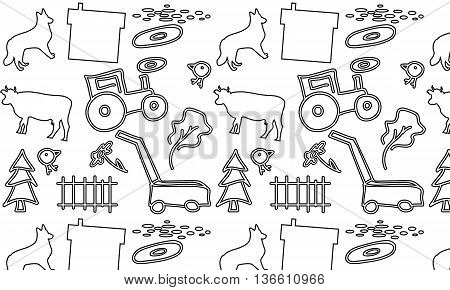 seamless pattern with a farm tractor and mower cow and dog and house