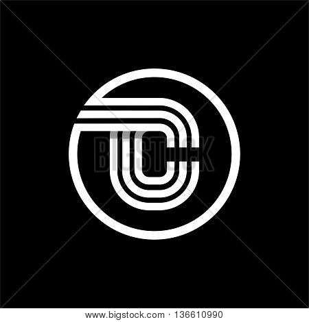 C capital letter made of of three white stripes enclosed in a circle . Overlapping with shadows monogram, logo, emblem. Trendy design.