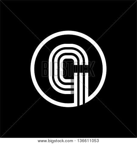 G capital letter made of of three white stripes enclosed in a circle . Overlapping with shadows monogram, logo, emblem. Trendy design.