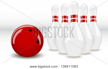bowling ball and pins two-color on a white background