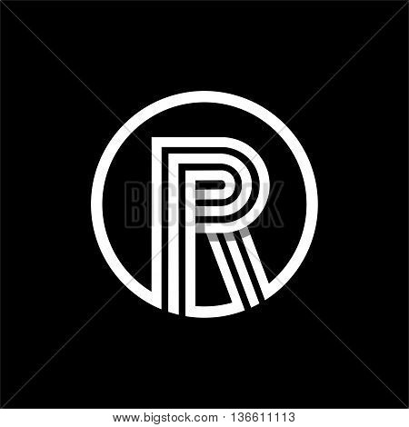 R capital letter made of of three white stripes enclosed in a circle . Overlapping with shadows monogram, logo, emblem. Trendy design.